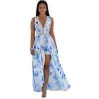 YSMARKET Summer Long Boho Dress Women Elegant Gowns 2017 Hot Sale V Neck Romper Patterns Ladies