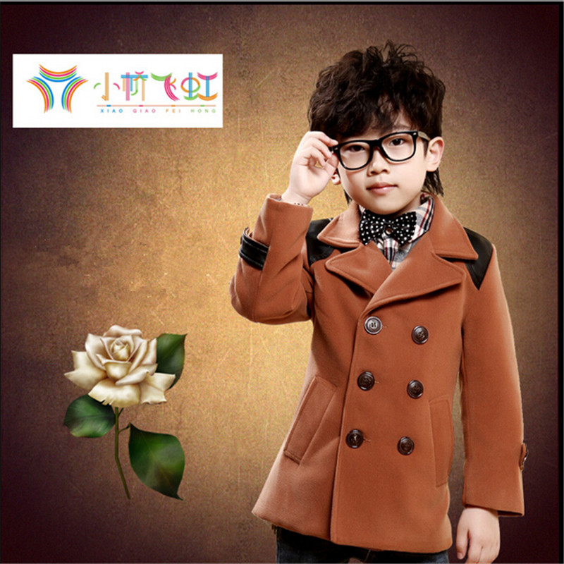 ФОТО Children's clothing 1 autumn 5 quality fashion male child wool woolen overcoat trench outerwear khaki  dark blue