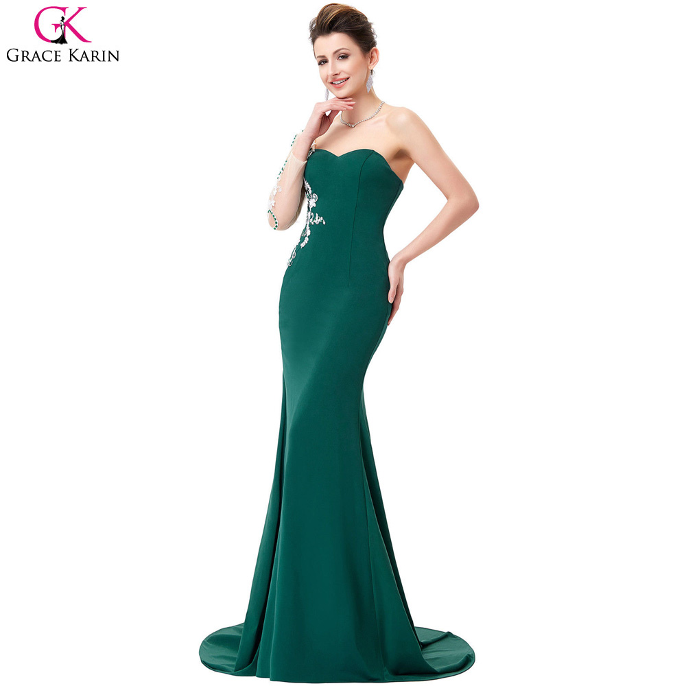 Long Grace Karin Sweetheart Lace Appliques Emerald Green Long Sleeves 2017 Prom  Dresses Mermaid Evening Gowns Under 50-in Prom Dresses from Weddings ... 187213ccd15b
