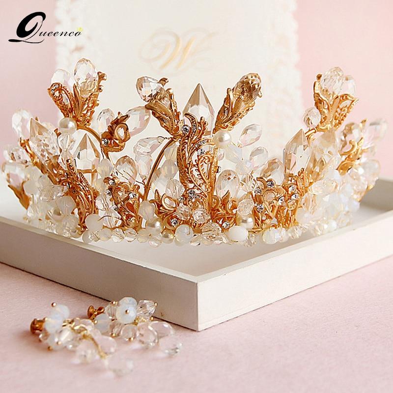 Ensembles de bijoux de couronne de mariée couleur or boucles d'oreilles de mariée accessoires de cheveux de mariage couronnes baroques cristal diadème grand diadème
