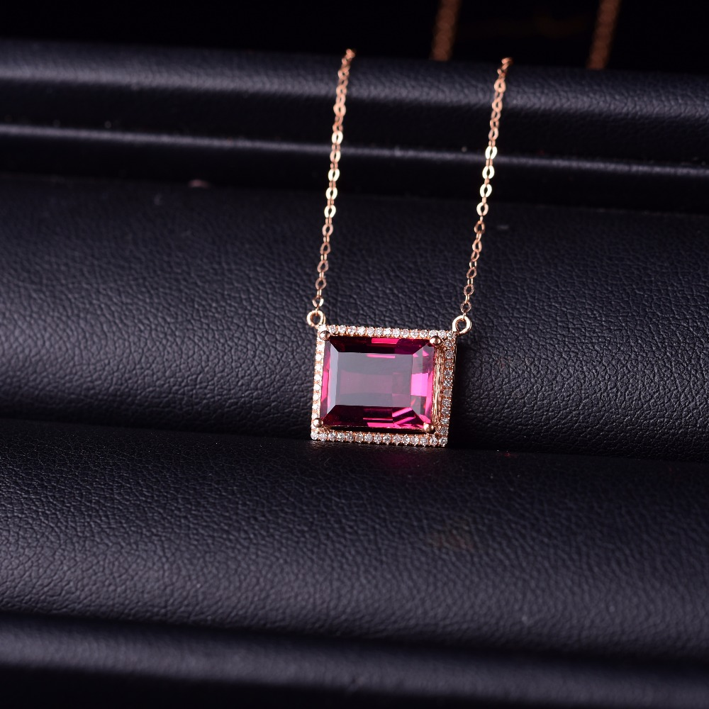 Red tourmaline collarbone Necklace 18K Gold Inlay color gems Gemstone Necklace heart shaped rubellite