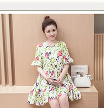 2016 New Summer Clothes Lactation Printing Short Sleeve Dress Feeding Breastfeeding Clothes Pregnant To Go Out O-Neck Dresses