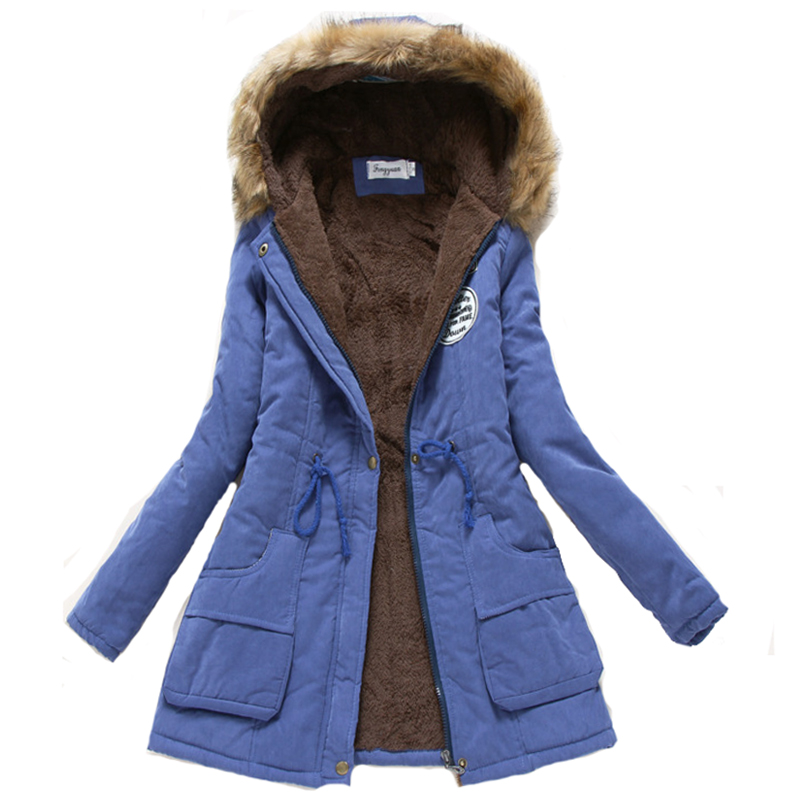 2018 New women winter thicken warm coat female autumn hooded cotton fur plus size   basic     jacket   outerwear slim long ladies 3XL