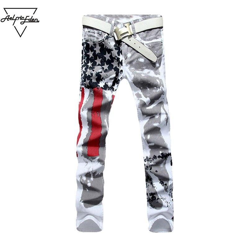 Aelfric Eden White USA Flag Jeans Men Fashion Red Striped Black Star High Elastic Slim Denim Pants Man Biker Hip Hop Trousers