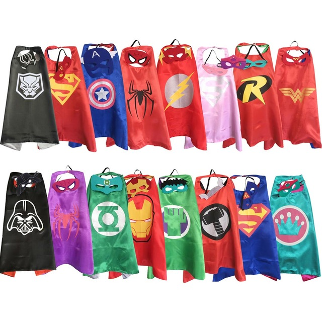 Capas de super-heróis com máscaras para crianças fontes do partido de aniversário favor de partido trajes de halloween vestir meninas meninos cosplay