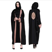 Wholesale Plus size embroidery hit color muslim abaya Female Muslim Dress Cardigan Robes prayer Service clothes Wj2293 with belt