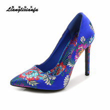 LLXF stilettos Silk embroidery nationality 11cm Thin Heels RED Shoes woman Sequins SM Pointed Toe Party pumps Plus:35-45 46