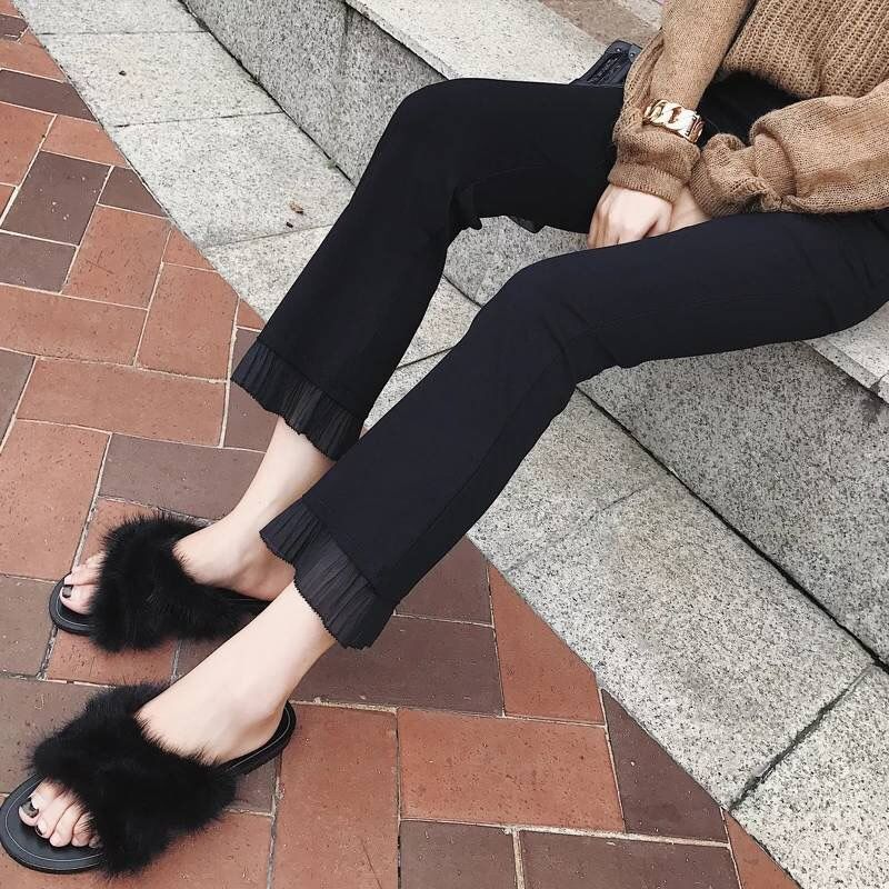 2019 Trousers Women High Waist Bell Bottom Metal Ring Flare Pants Wide Leg Pants Big Plus Size XL Black White Female Capris PP05 25