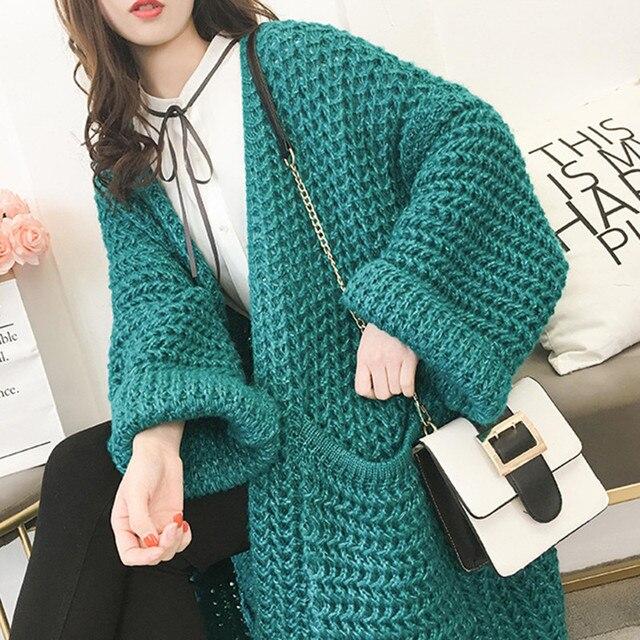 fa6412f6886 Vintage Loose Green Winter Thicken Female Cardigan Feminine Coat Sweater  Knit Cardigan for Women Long Korean Red Lady s Sweater