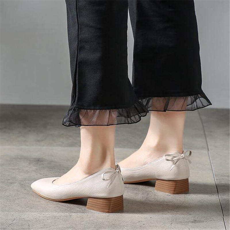 Thick Heels Shoes Women EU32-43 Round-Head Comfortable Female Quality Student