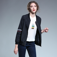 Women Basic Jacket Coats plus size2017Autumn Winter Casual Jacket Zipper Loose letter print black Outerwear Streetwear jaqueta