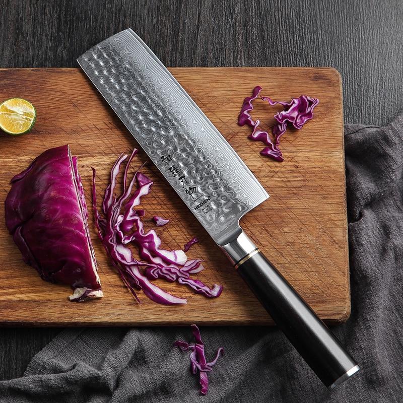 Küche Messer 6,8 ''Nakiri Messer Japanischen VG10 Damaskus Edelstahl Metzger Fleisch Cleaver Gemüse Messer Kochen Cutter Ebenholz Griff-in Küchenmesser aus Heim und Garten bei  Gruppe 1