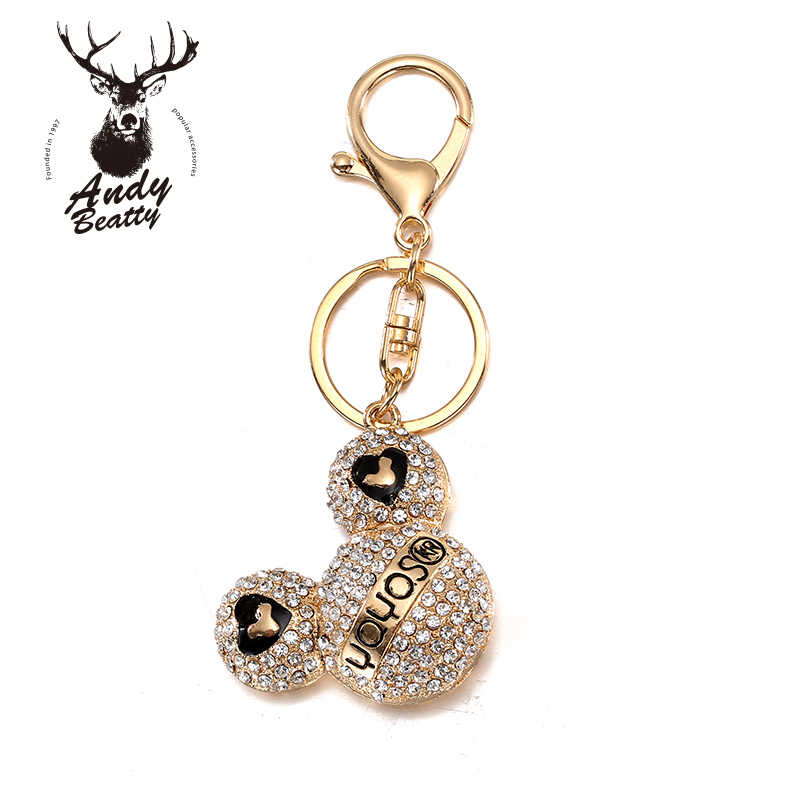 Andybeatty Rhinestone Cristal Carton Cut Mickey Keychain Chave Do Carro Anel Cadeia Charme Pingente de Chave Para As Mulheres Porte Clef