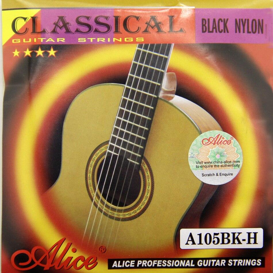 Alice Series Black Nylon Classical Guitar Strings A105BK-H Nylon Core Siver-Plated Copper Alloy Winding