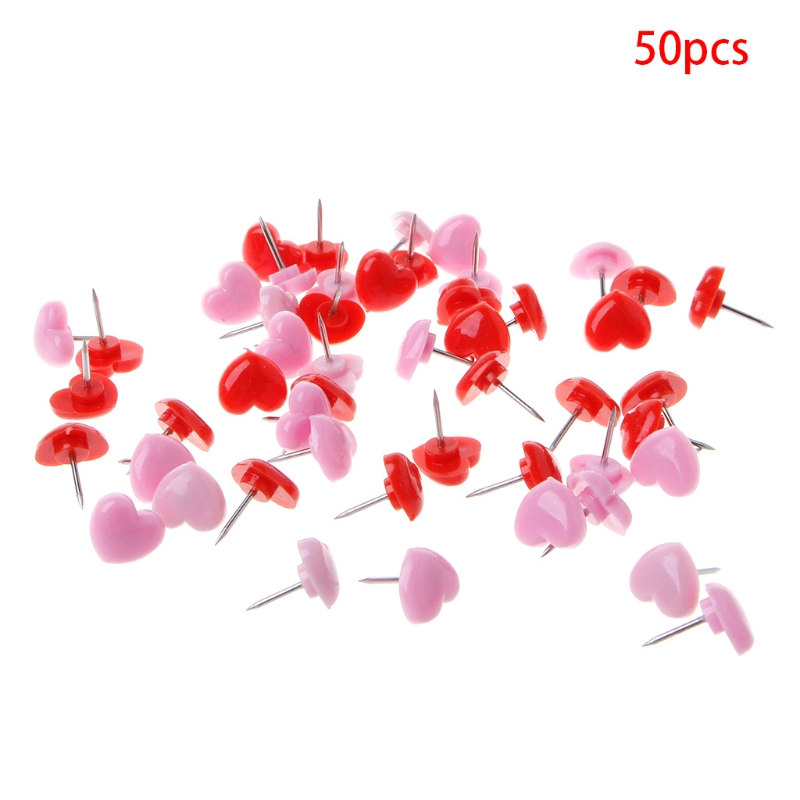 50 Pcs Heart Shape Plastic Quality Cork Board Safety Colored Push Pins Thumbtacks Office School Accessories Supplies