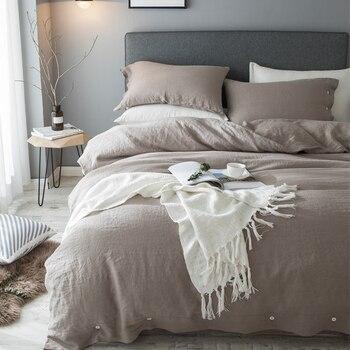 4 шт., льняное покрывало, Комплект постельного белья, однотонный, глубокий цвет хаки, простой, роскошный, текстурированный, пододеяльник, про