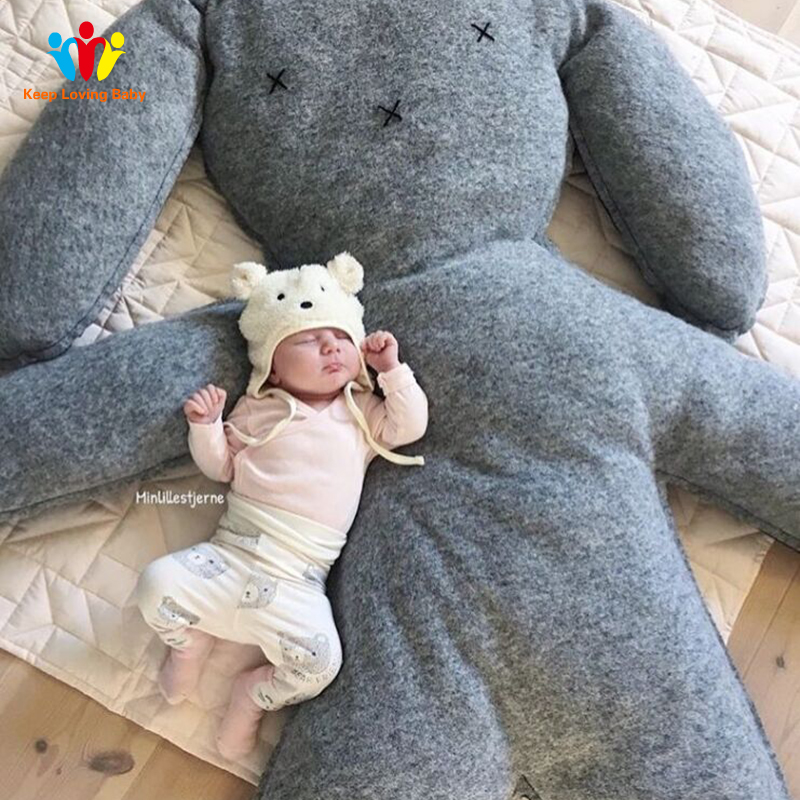 Large baby pillow Baby Crib Bumper Toy Doll rabbit Plush toys Children photography props bed room decoration Pillow