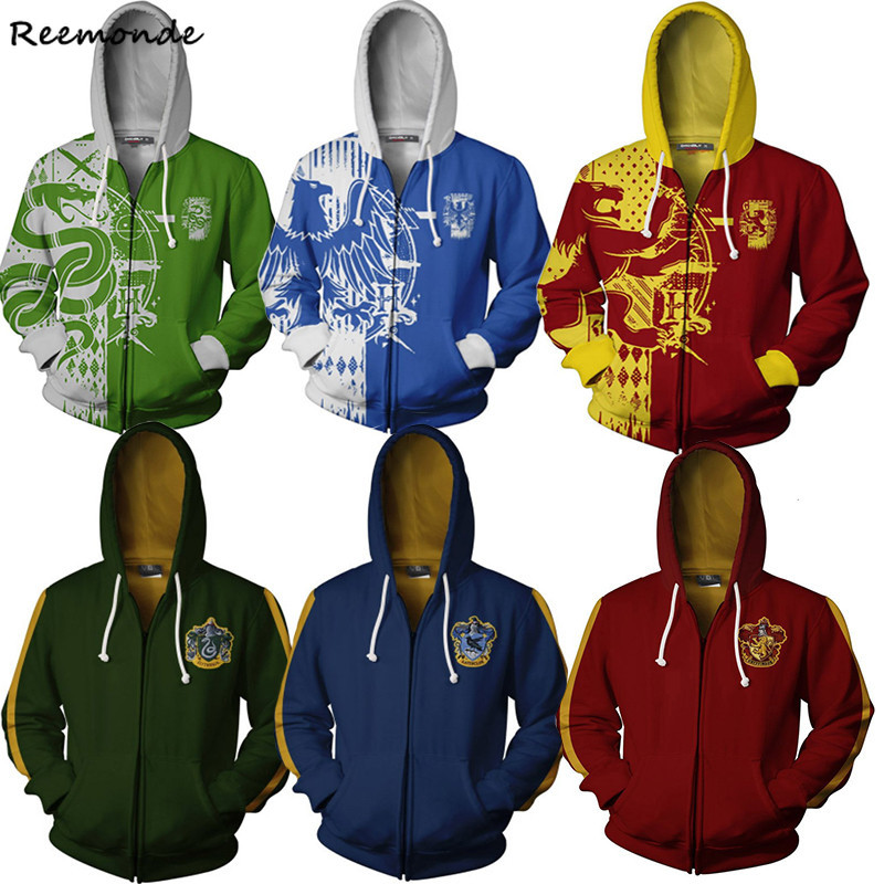 Harry Potter RAVENCLAW Cosplay Hoodie Sweatshirt Jacket Zipper Baseball Coat
