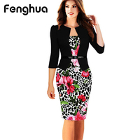 Fenghua Elegant Winter Autumn Dress For Women 2017 Sexy Office Bodycon Dress Female Casual Patchwork Party