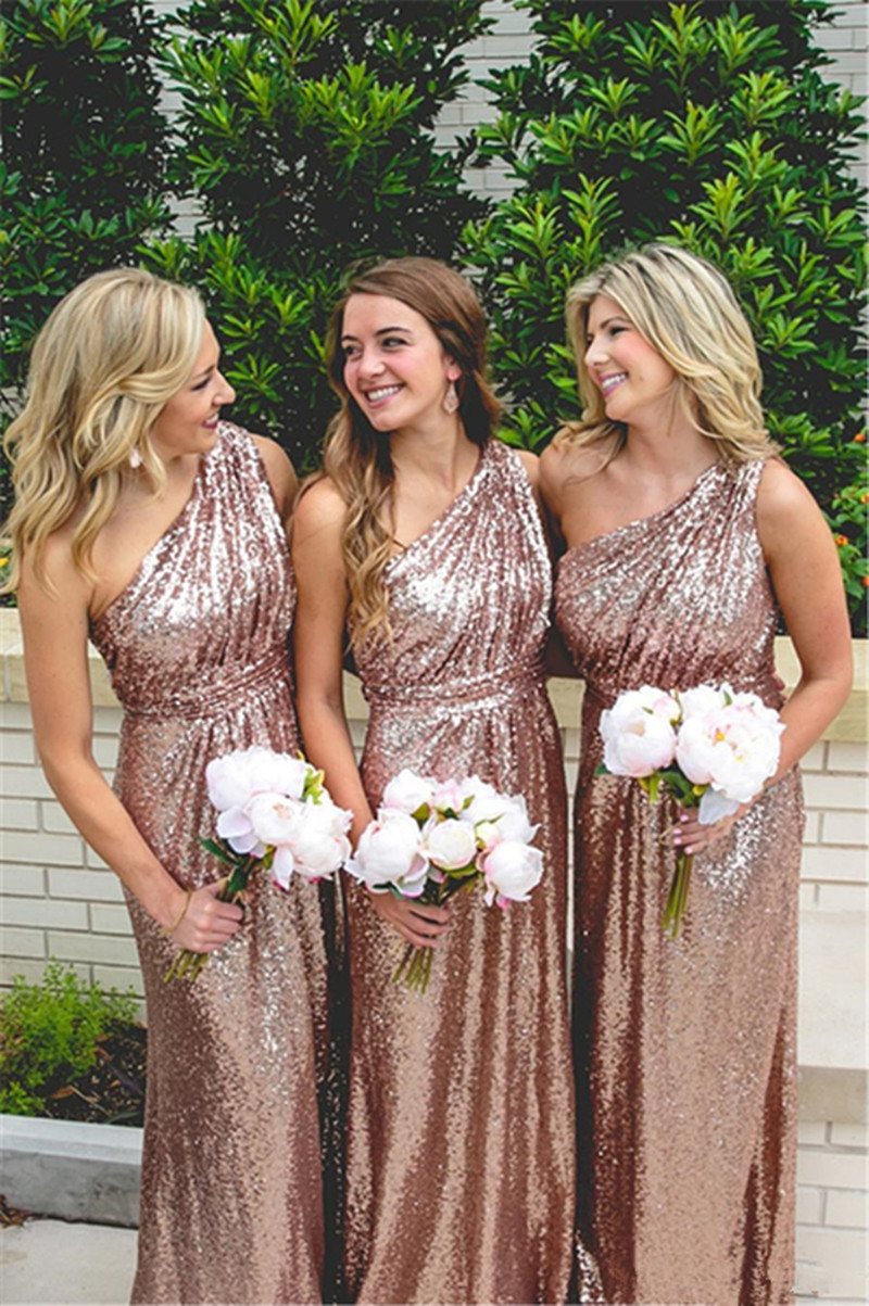 Long Sequin Rose Gold   Bridesmaid     Dresses   2019 One Shoulder Plus Size Party Wedding Guest Gowns Arabic Maid Of The Honor Gowns