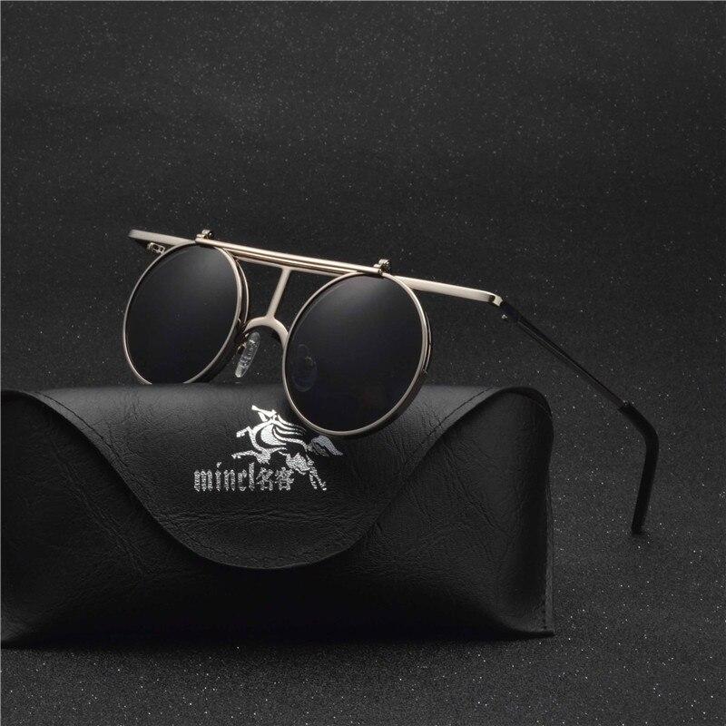 MINCL/ Small Round punk Sunglasses Men Women Flip Up lens Punk Sun Glasses for Male Vintage Goggles NX 4
