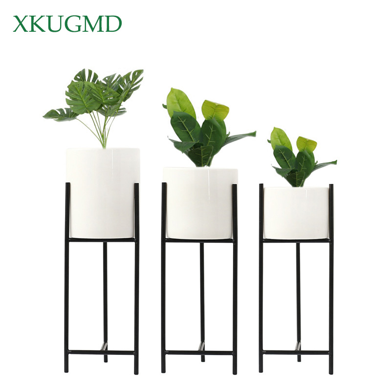 Hot Home Garden Decoration Iron Art Hydroponics Planting Vase Nordic Style Ceramics Succulent Iron Flower Stand Pots For Flowers