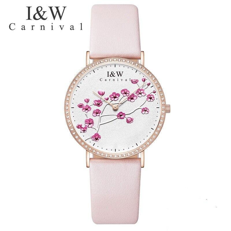 Carnaval IW véritable mode à la mode montre pour femme Simple en cuir montre à Quartz montre pour femme mince étudiant collège littéraire montre