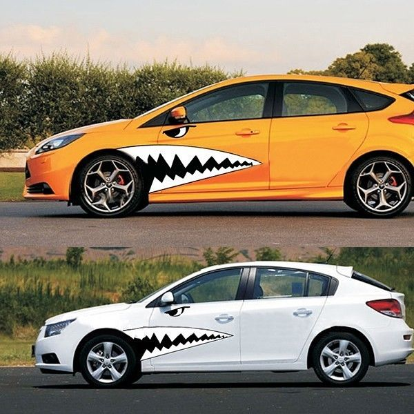 Xyivyg a set of 1 3m length 3d funny big shark car styling waist garland bk sticker full whole body car sticker and decals in car stickers from automobiles