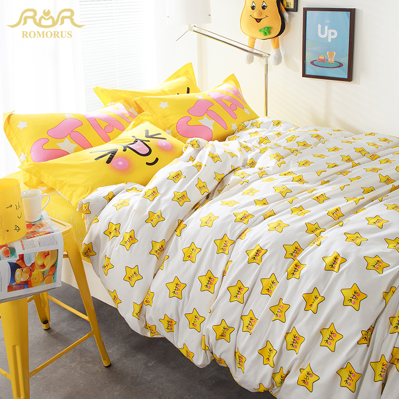 ROMORUS Modern Brief Stars Cartoon Bedding Set 4 pcs 100% Cotton for Children/Kids Queen Size Bedroom Bed Linen Duvet Cover Sets