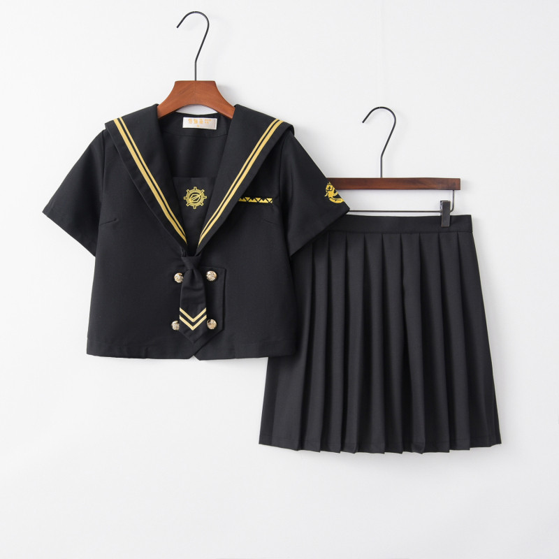 Revolver Embroidery School Uniform Women Novelty Party Costume JK Uniforms Black Tops Pleated Skirt Sailor Suit