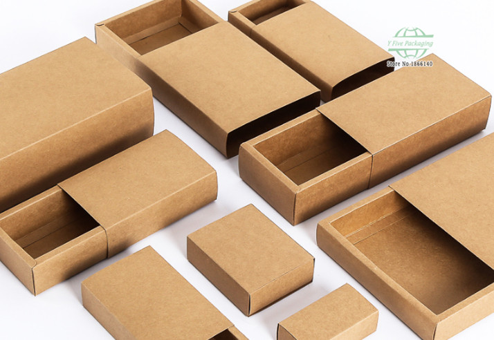 25 Size Kraft Paper Drawer Box Blank Brown Paper Box Handmade Soap Jewel Party Gift Craft Packaging Box 100pcslot Free shipping