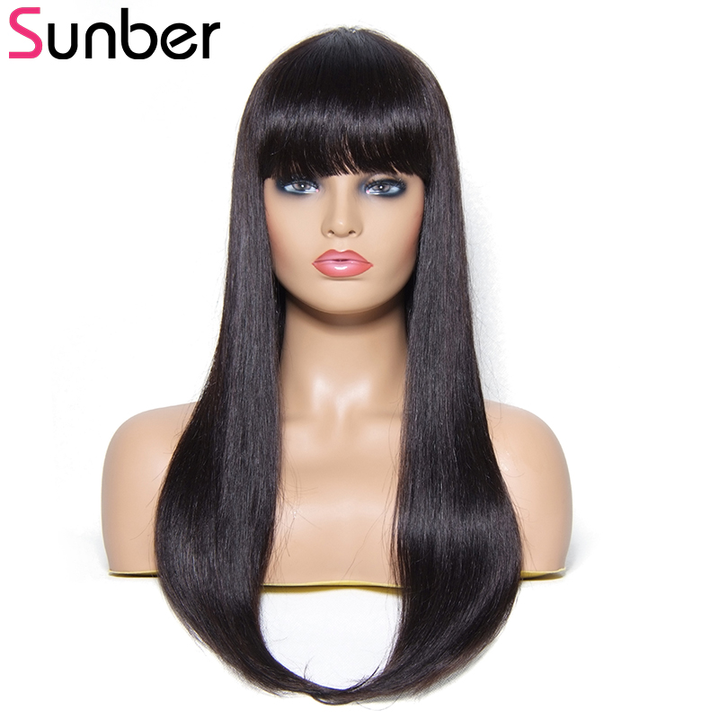 Sunber Hair Straight Human Hair Wigs With Bang 100 Brazilian Remy Hair Long Straight Hair Wig