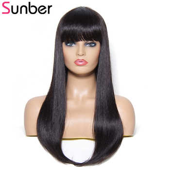 Sunber Hair Straight Human Hair Wigs With Bang 100% Brazilian Remy Hair Long Hair Wig 22Ich Natural Colour - DISCOUNT ITEM  38% OFF All Category
