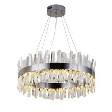Современная Люстра для ресторана, хром/Золотистая круглая хрустальная лампа, декоративная лампа для гостиной, светодиодная лампа для отеля
