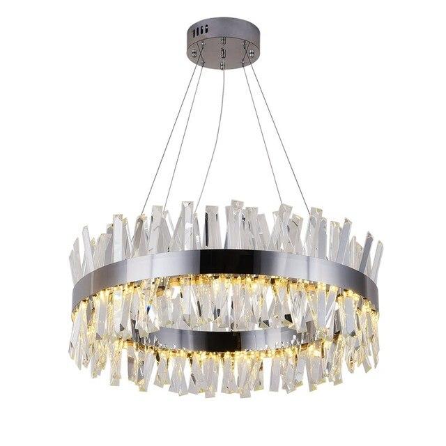 חדש מודרני מסעדת נברשת כרום/זהב עגול קריסטל מנורת סלון קישוט נברשת LED מלון מנורה