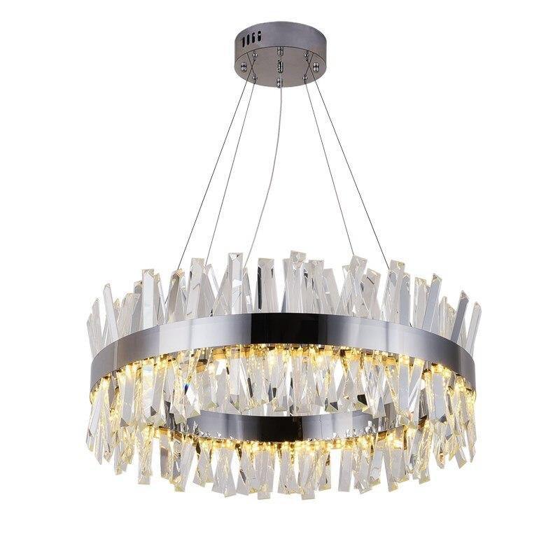 Nouveau moderne restaurant lustre chrome/or rond cristal lampe salon décoration lustre LED hôtel lampe
