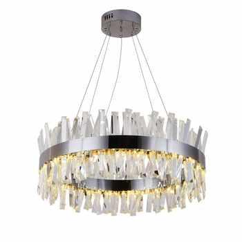Nuevo candelabro moderno de restaurante cromado/dorado lámpara redonda de cristal decoración de sala de estar lámpara LED de hotel