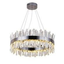 Yeni modern restoran avize krom/altın yuvarlak kristal lamba oturma odası dekorasyon avize LED otel lambası