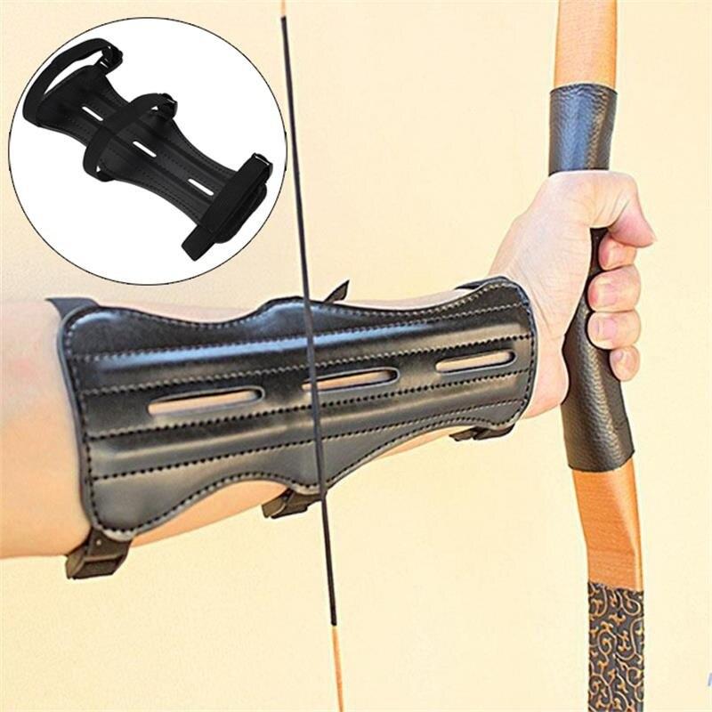 Cowhide อุปกรณ์ยิงธนู ARM GUARD Protection Forearm ปลอดภัยปรับ Bow Arrow การล่าสัตว์การฝึกอบรมอุปกรณ์เสริม Protector