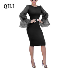 QILI Women Beading Flare Sleeve Dresses O Neck Organza Patchwork Long Pencil Dress Fashion Womens Casual Party