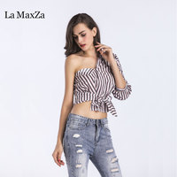 라 MaxZa 2018 새로운 끈이 여성 섹시한 셔츠 우아한 스트라이프 탑 정장 의류 오피스 레이디 VKTS1002
