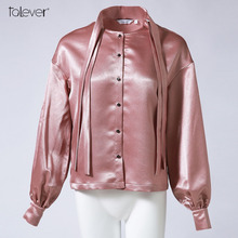 Women Autumn Satin Blouse 2017 Long Sleeve Pink Stand Bow Casual Loose Elegant Polyester Shirts Female Wide Size Tops Talever