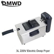 DMWD электрическая масляная фритюрница из нержавеющей стали коммерческий жареный чипс сковорода для духовки 3л картофель фри гриль машина 110 В 220 В