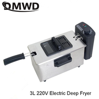 DMWD Electric Oil Deep Fryer Stainless steel Commercial Fried Chips Frying Pot Oven Pan 3L French Fries Grill Machine 110V 220V
