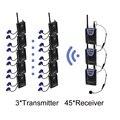 Sanitary 2.4GHz Digital Wireless Tour Guide System for Tour Guiding Interpretation Meeting HDCD audio 3Transmiters 45Receivers