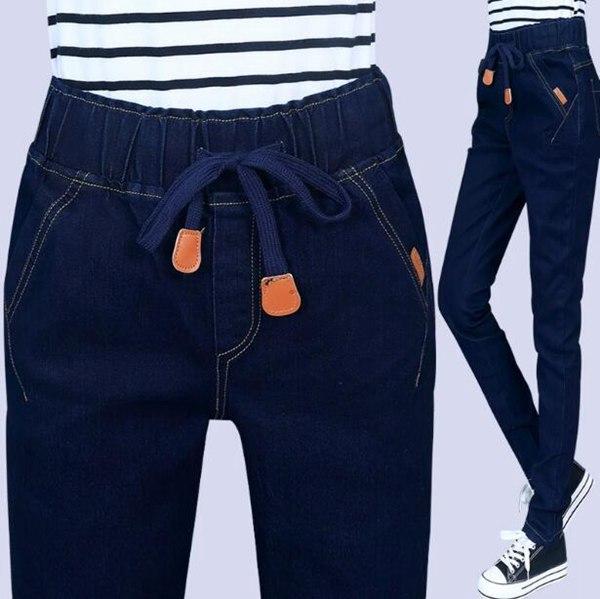 #2031 2016 Spring Autumn jeans woman Elastic waist harem jeans Fashion Casual Loose Denim pants Jeans femme Vaqueros mujer 4XL