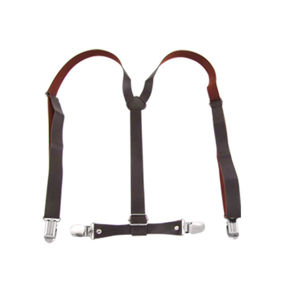 5x Practical Superior Coffee Faux Leather Adjustable Band Suspenders Braces
