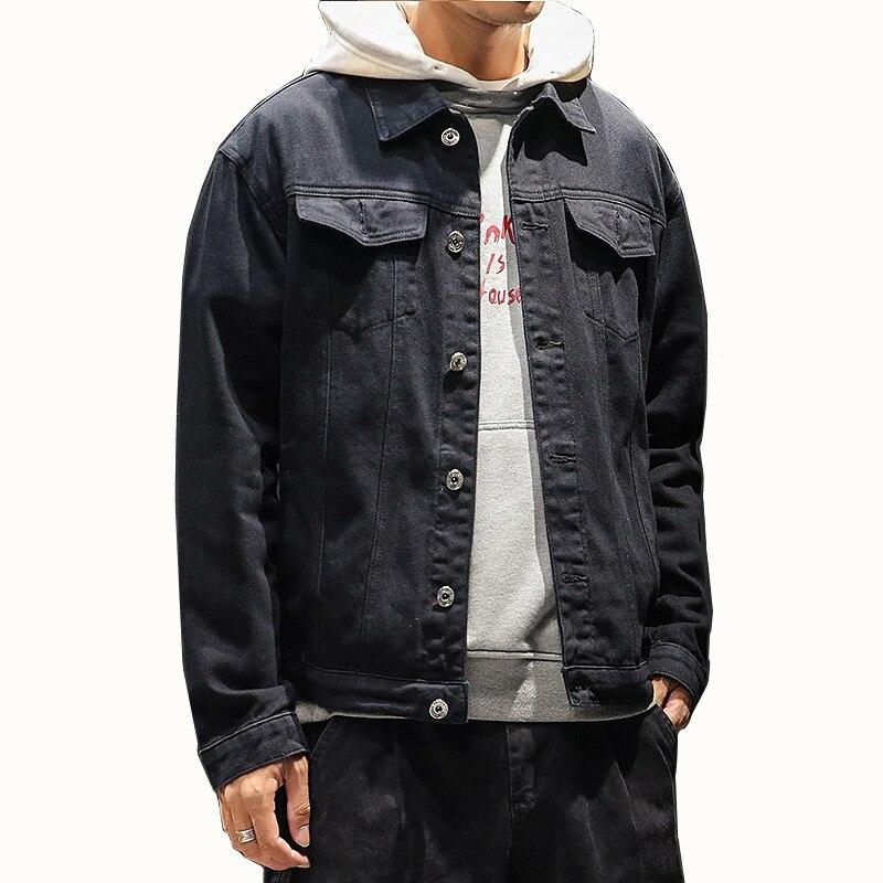 2018 Autumn Winter Mens Denim Jacket Fashion Cotton Solid Sim Fit Streetwear Men Jeans Jackets Mens