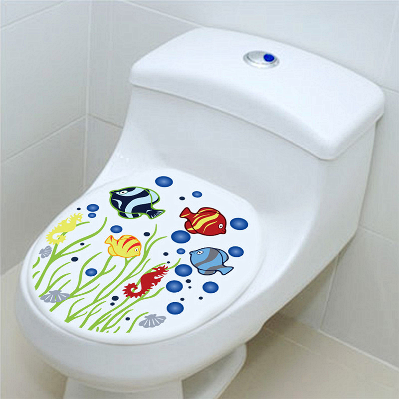 Funny fish sea grass toilet seat stickers wc bathroom decoration diy wall  mural art home decalsPopular Toilet Fish Buy Cheap Toilet Fish lots from China Toilet  . Tropical Fish Toilet Seat. Home Design Ideas