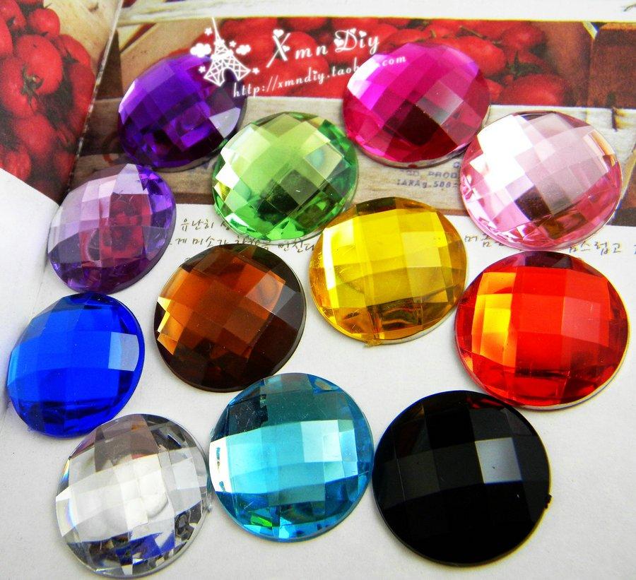 12 barev na přání ~ 25 mm 100ks / taška ploché zadní kulaté akrylové kamínky korálky / kameny, 3D akrylové oděvní dekorace